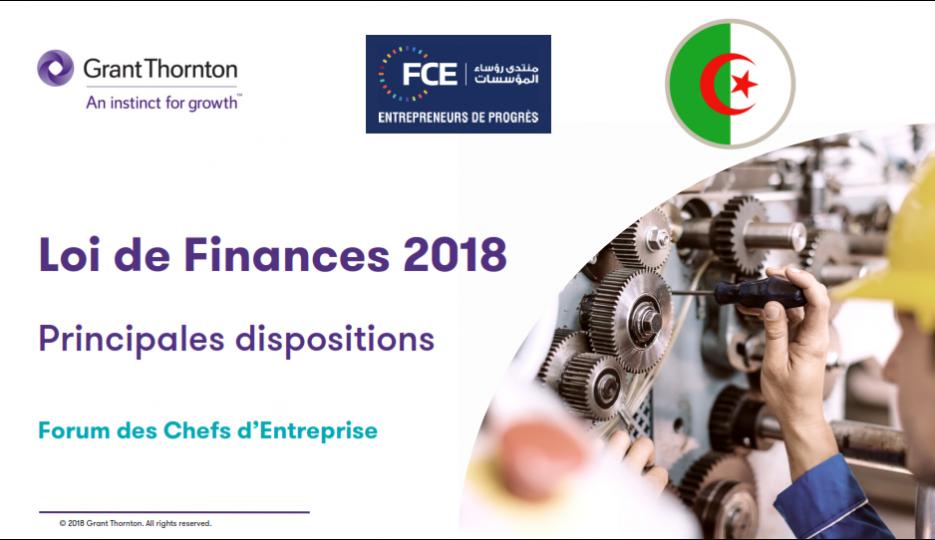Les principales dispositions de la Loi de Finances 2018